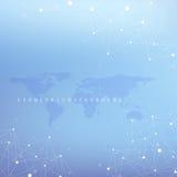 Graficzna abstrakcjonistyczna tło komunikacja Duży dane kompleks z mieszankami Perspektywiczny tło z Światową mapą minimalizm Zdjęcie Stock