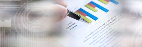 Graficzna analiza sztandar panoramiczny fotografia stock