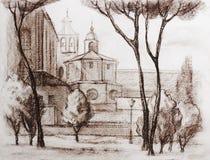 Graficzna ilustracja Rzym plakat Duotone Obraz Stock