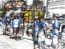 Graficzna kreśląca odszukana nadmierna fotografii ilustracja hotdog stojak w Toronto ilustracja wektor
