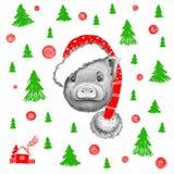 Graficzna mała świnia w Święty Mikołaj kapeluszu ilustracja wektor
