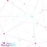 Graficzna tło molekuła, komunikacja i Kolorowe kropki z związkami dla twój projekta również zwrócić corel ilustracji wektora Obrazy Royalty Free