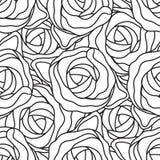 Graficznego abstrakta stylizowane róże w czarny i biały kolorach Wektorowy bezszwowy nowożytny wzór Zdjęcia Stock