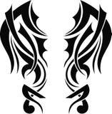 Graficznego projekta tatuażu Plemienni skrzydła Zdjęcia Stock