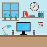 Graficznego projekta zawodu workdesk z monitorem rezerwuje lampową komputer osobisty ilustrację Wnętrze Pracujący miejsce Obraz Stock