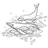 Graficzni wieloryby lata w niebie ilustracja wektor