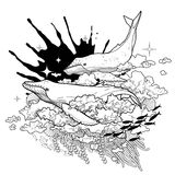 Graficzni wieloryby lata w niebie royalty ilustracja