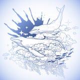 Graficzni wieloryby lata w niebie ilustracji