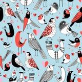 Graficzny bezszwowy wzór śmieszni obrazki ptaki ilustracja wektor