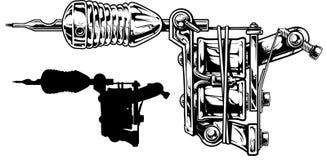 Graficzny czarny i biały tatuaż maszyny set niestabilność 3 ilustracji