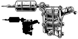 Graficzny czarny i biały tatuaż maszyny set niestabilność 4 ilustracja wektor