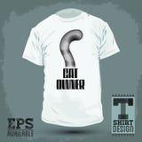 Graficzny koszulka projekt emblemat - kota właściciel, kota ogonu ikona - Fotografia Royalty Free