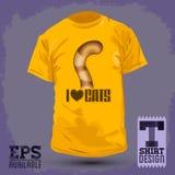 Graficzny koszulka projekt - kocham koty, kota ogonu ikona Obrazy Stock