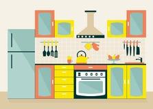 Graficzny kuchenny wnętrze z urządzeniami i meble Płaski sty Obrazy Royalty Free