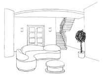 Graficzny nakreślenie, żywy pokój Zdjęcia Stock