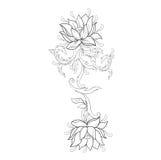 Graficzny nakreślenie lotuses w ornamencie na białym tle Zdjęcie Stock