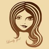 Graficzny portret piękna dziewczyna Zdjęcie Royalty Free