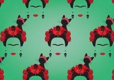 Graficzny przedstawicielstwo Frida Kahlo ` s tło, minimalistyczny portret z kolczyk czaszkami, czerwień kwiaty i czarny kot, ilustracja wektor