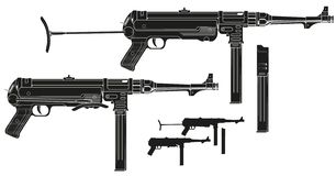 Graficzny retro submachine pistolet z ammo klamerką ilustracja wektor