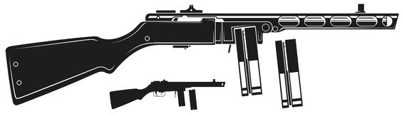 Graficzny retro submachine pistolet z ammo klamerką royalty ilustracja