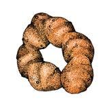 Graficzny rysunek z wizerunkiem babeczki, piec Poj?cie dla piekarni lub kawiarni, dla projekta t?a, reklama, pakuje ilustracja wektor