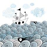 Graficzny statek przy morzem Obraz Stock