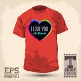 Graficzny T koszulowy projekt - kocham ciebie tak dużo Zdjęcie Royalty Free