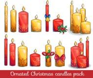 Graficzny ustawiający boże narodzenie świeczki Zdjęcia Royalty Free