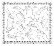 Graficzny ustawiający z zodiaków gwiazdozbiorami w ramie Obraz Royalty Free