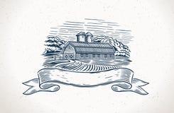 Graficzny wieś krajobraz z gospodarstwem rolnym i projekta elementem ilustracji