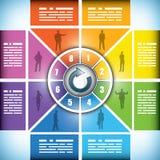Grafiek in acht fasen van het kleuren de veranderende werkschema vector illustratie