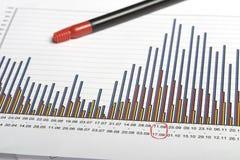 Grafiek & pen Stock Afbeelding
