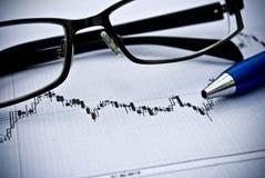 Grafiek, calculator, glazen als financieel concept van de voorraadanalyse Stock Afbeeldingen