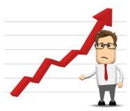Grafiek die negatief stijgen Stock Foto's
