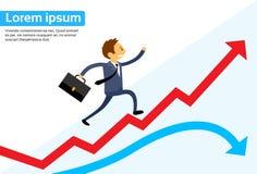 Grafiek die van zakenmanrunning red arrow de omhoog beklimmen Royalty-vrije Stock Fotografie