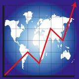 Grafiek en kaart van de wereld Royalty-vrije Stock Foto