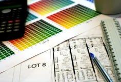 Grafiek en plannen Stock Foto