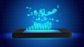 Grafiek het groeien van het mobiele telefoonscherm, tijdbeheer apps, online bankwezen vector illustratie