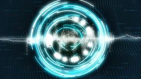 Grafiek met blauwe roterende cirkels op achtergrond sc.i-FI vector illustratie
