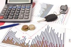 Grafiek met calculator en autosleutel, geld Stock Foto's