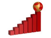 Grafiek met globo Royalty-vrije Stock Foto's