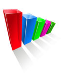 Grafiek met kleurrijke gloeiende verticale kolommen Royalty-vrije Stock Fotografie