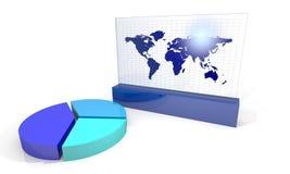 Grafiek met wereldkaart Stock Foto's