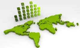 Grafiek met wereldkaart Royalty-vrije Stock Afbeeldingen