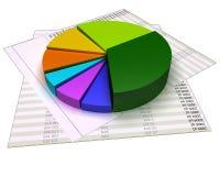 Grafiek op financiële dossiers en geïsoleerd op wit Royalty-vrije Stock Foto