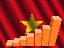 Grafiek op Vietnamese vlag Stock Afbeeldingen