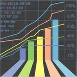 Grafiek van bedrijfssucces een paar jaar Stock Afbeeldingen
