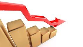 Grafiek van dalende inkomens, verliezen van een onderneming, crisis van inkomens 18 vector illustratie