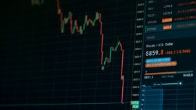 Grafiek van de effectenbeurs de online neerwaartse trend van Bitcoin-munt - investering, elektronische handel, financiënconcept stock videobeelden