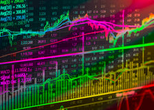 Grafiek van effectenbeursgegevens en financieel met de mening van LEIDEN vertoningsconcept dat geschikt voor achtergrond, achterg Royalty-vrije Stock Foto